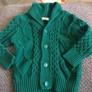 Hunter green button down cardigan